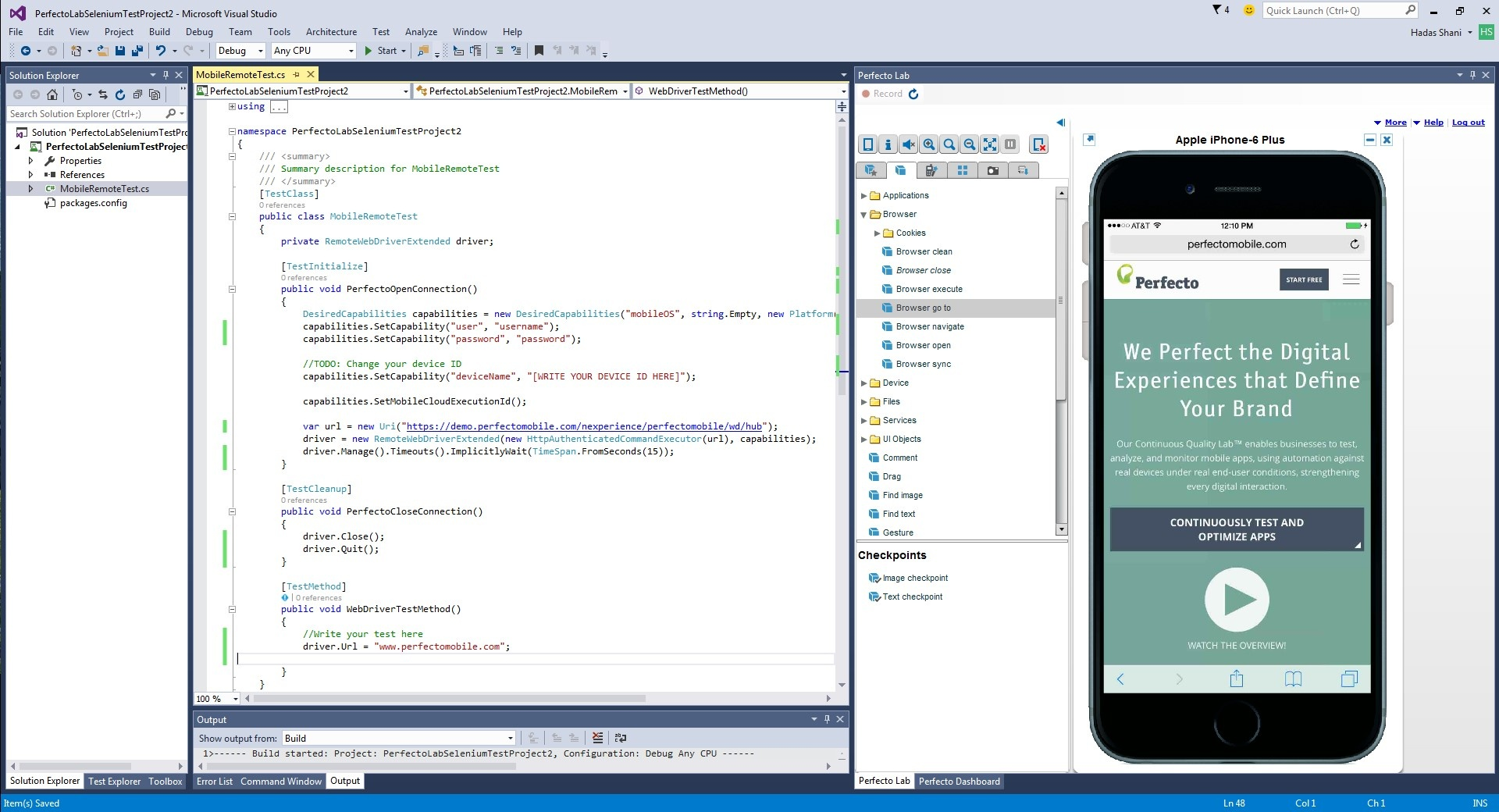 Perfecto Mobile for Visual Studio IDE - TIPS AND TRICKS