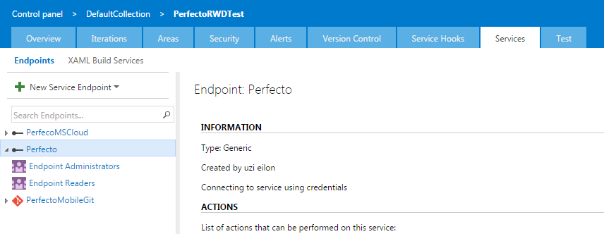 Perfecto Service Endpoints in VSTS Projects - TIPS AND