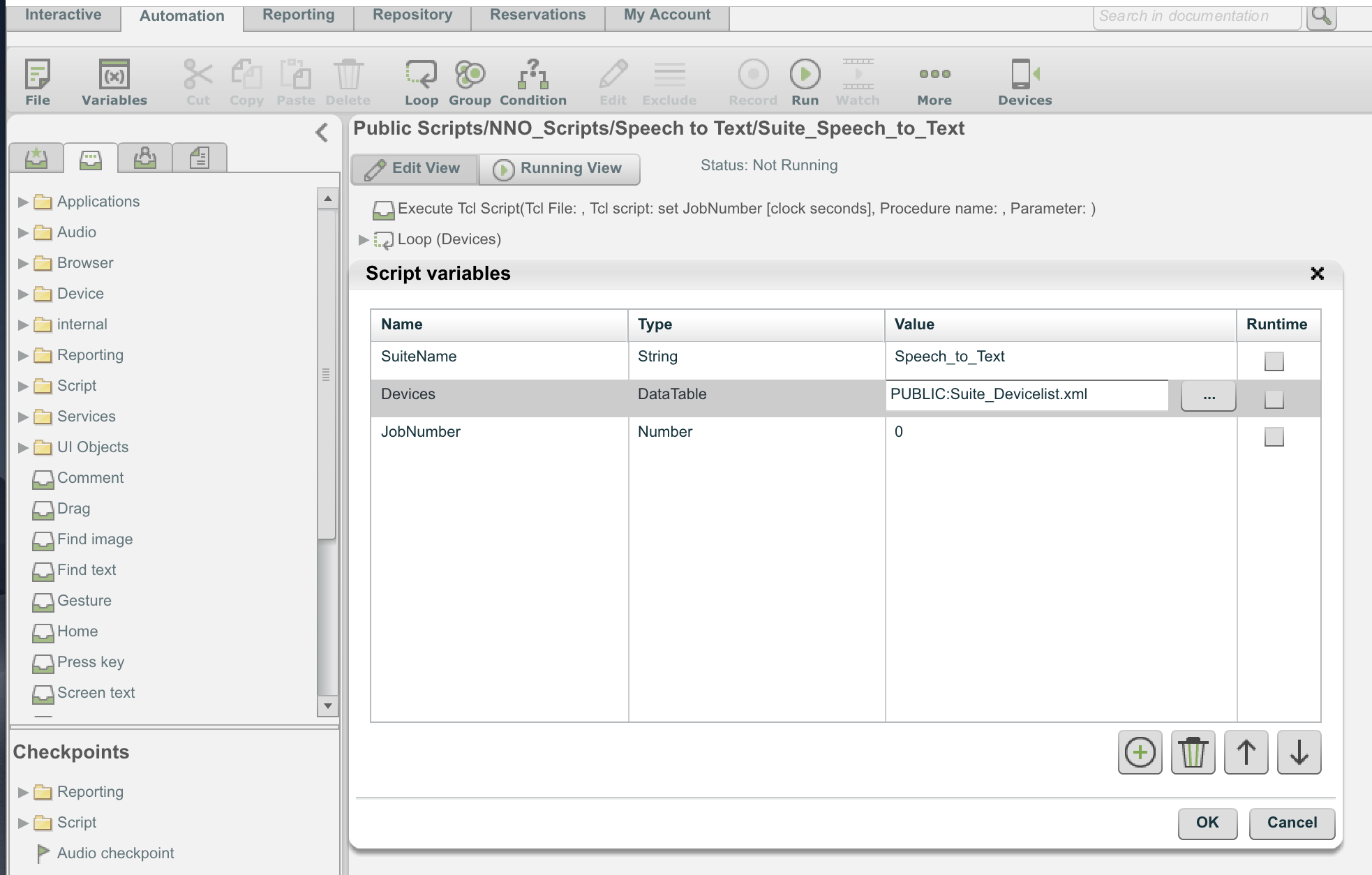 Perfecto IDE: Using Data Tables in script automation - TIPS AND