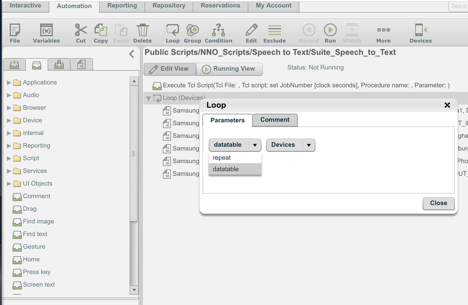 Perfecto IDE: In Test Suite Loop Through Devices in a Table